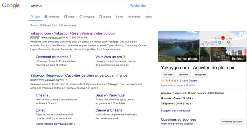 Google : requête de naviguation