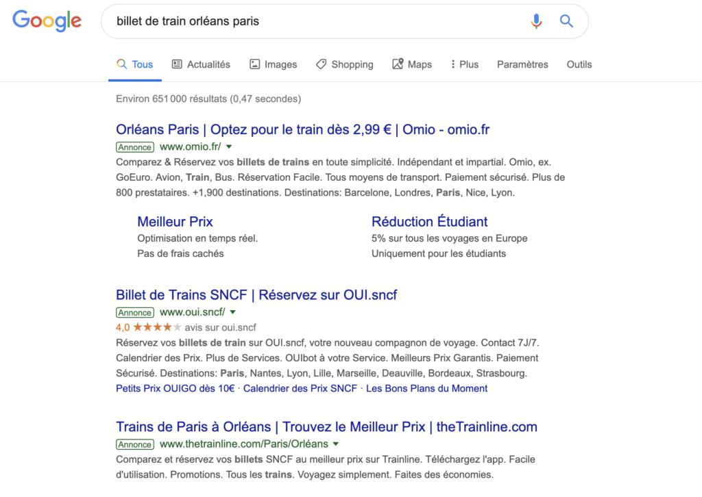 Google : Requêtes transactionnelles