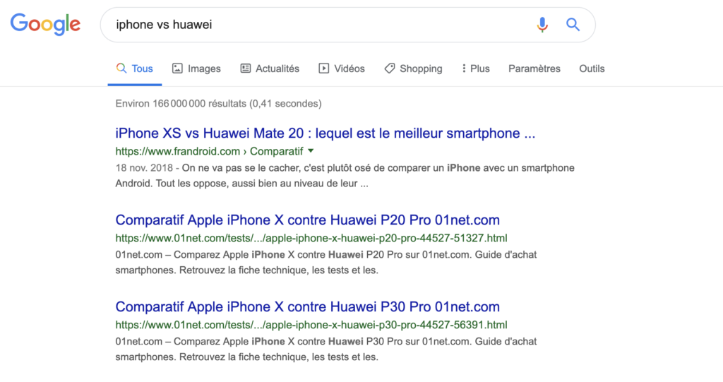 Google requête commerciale