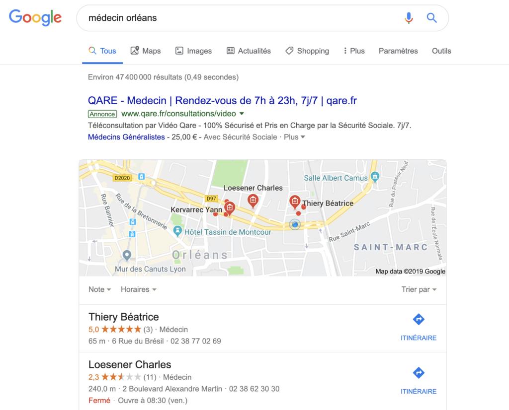 Google Requêtes locales