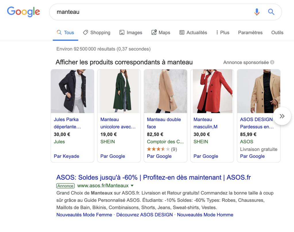 Recherche google pour manteau